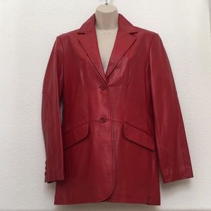 Vintage Red Leather Blazer